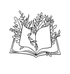 open book with plant print vector image