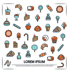 poster with sweet desserts bakery candies vector image