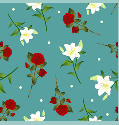 red rose and white lily flower christmas green vector image