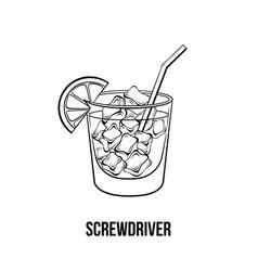 Screwdriver monochrome hand drawn vector