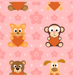 seamless background card with funny animals vector image