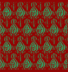 Seamless ikat classic red and green pattern vector