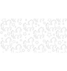 seamless pattern silhouette unicorn vector image