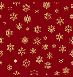 seamless pattern with golden snowflakes on red vector image
