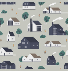 seamless pattern with residential houses or vector image