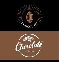 Set chocolate handwritten lettering logo vector