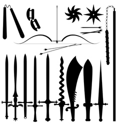 Set item bladed weapons vector