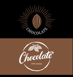 set of chocolate handwritten lettering logo vector image