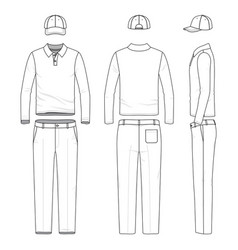 Set of male golf suit vector
