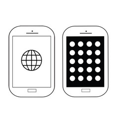 set of two mobile phones black and white vector image