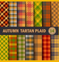 set tartan seamless pattern background autumn vector image