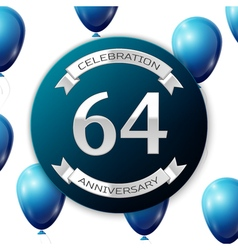 Silver number sixty four years anniversary vector