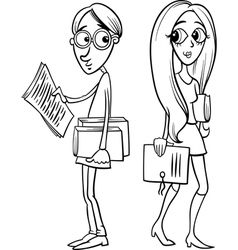 students couple in love coloring page vector image