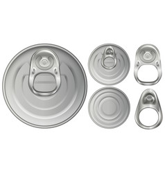Top view of aluminum cans and openers vector