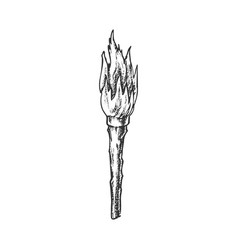 Torch handmade old wooden burning stick ink vector
