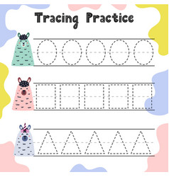 trace shapes educational worksheet for kids vector image
