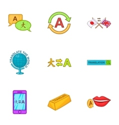 Translation icons set cartoon style vector image