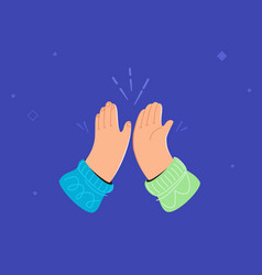 Two hands are giving a high-five vector
