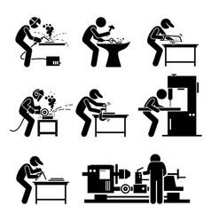 welder worker using metalworking steelworks tools vector image