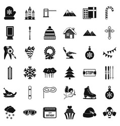 Winter gift icons set simple style vector