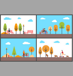 woman freelancer working in autumn park people vector image