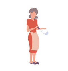 woman in apron holding metal ladle housewife vector image