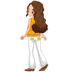 Woman in hippie clothes vector