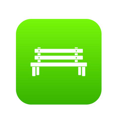 wooden bench icon digital green vector image