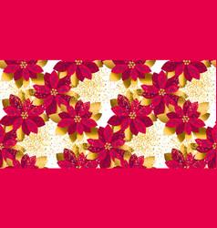 xmas poinsettia flowers seamless pattern vector image