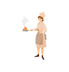 colorful woman cook in kitchen uniform holding vector image vector image