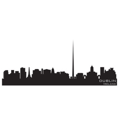 dublin ireland skyline detailed silhouette vector image vector image