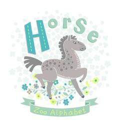 Letter H - Horse vector image