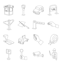 Parking zone set icons in outline style Big vector image