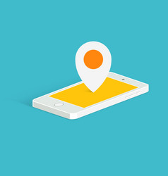 phone location pin icon isometric view vector image