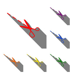 scissors sign set of red orange vector image