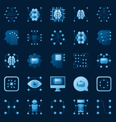 ai icons set artificial intelligence logo vector image