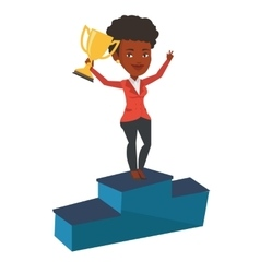Businesswoman proud of his business award vector