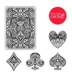 Decorative card suits set vector