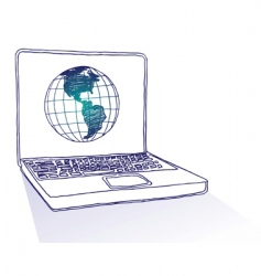 globe laptop vector image vector image
