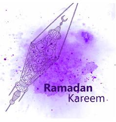 hand drawn sketch of ramadan lantern vector image