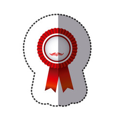 red round emblem with ribbon icon vector image