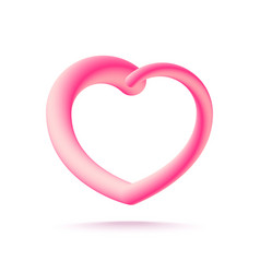 3d pink heart isolated on white background vector image vector image