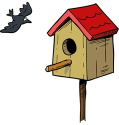 birdhouse with bird vector image