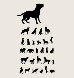 Dog Set Silhouette vector image