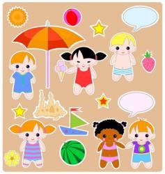 children summer set vector image