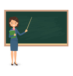 female teacher standing near of blackboard vector image vector image