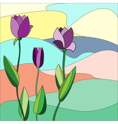 Floral mosaic background Tulips vector image