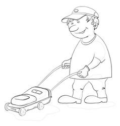lawn mower man contours vector image vector image