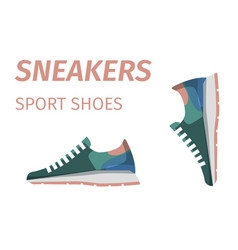 trendy sneakers sport shoes isolated vector image