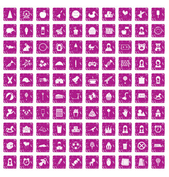 100 child center icons set grunge pink vector